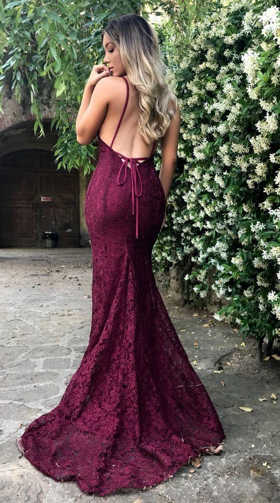 Sexy Open Back Mermaid Burgundy Lace Evening Dress - daisystyledress