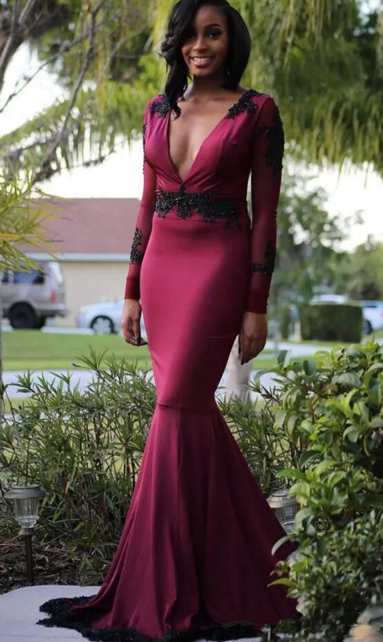 Elegant Mermaid Long Sleeve Burgundy Evening Dress - daisystyledress