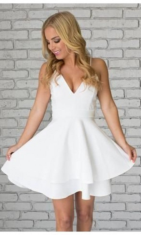 Knee Length Spaghetti Straps White Homecoming Dress - daisystyledress