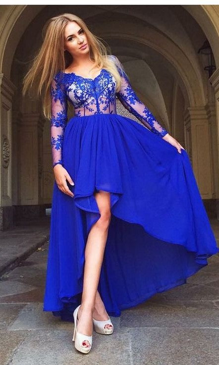 Sexy High Low Royal Blue Long Sleeves Homecoming Dress - daisystyledress