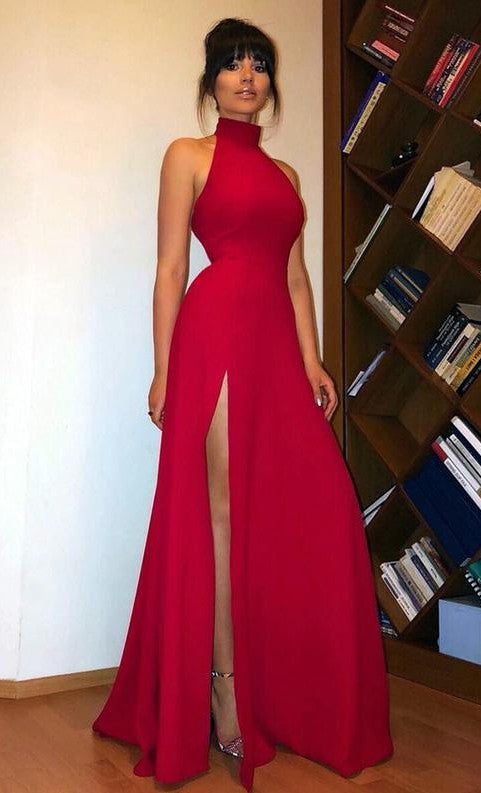 Sexy Slit Halter Neckline Dark Red Prom Dress - daisystyledress