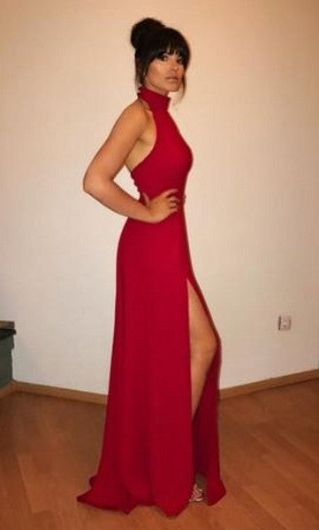 Deep Red Slit Prom Dress
