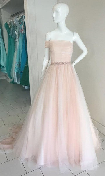 Unique One Sleeves Blush Pink Tulle Wedding Party Dress - daisystyledress