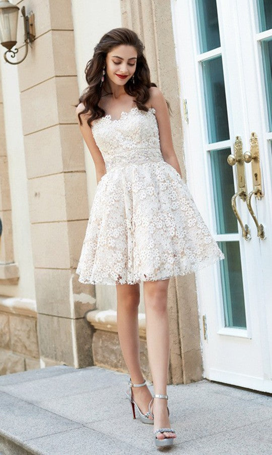 Above Knee Length Vintage Lace Homecoming Dress - daisystyledress