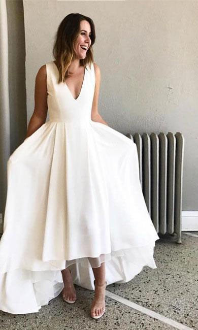 A line High Low V-neckline Informal Wedding Dress - daisystyledress