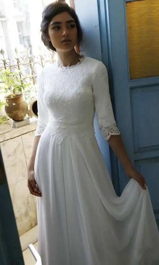 Modest Half Sleeve Lace Wedding Dress - daisystyledress