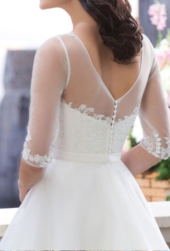 Modest Half Sleeve Lace and Tulle Wedding Dress - daisystyledress