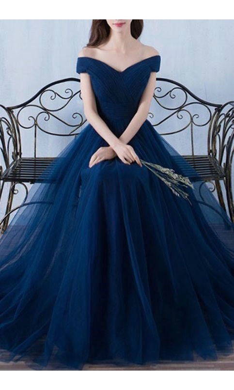 Simple Off Shoulder Navy Blue Tulle Prom Dress - daisystyledress