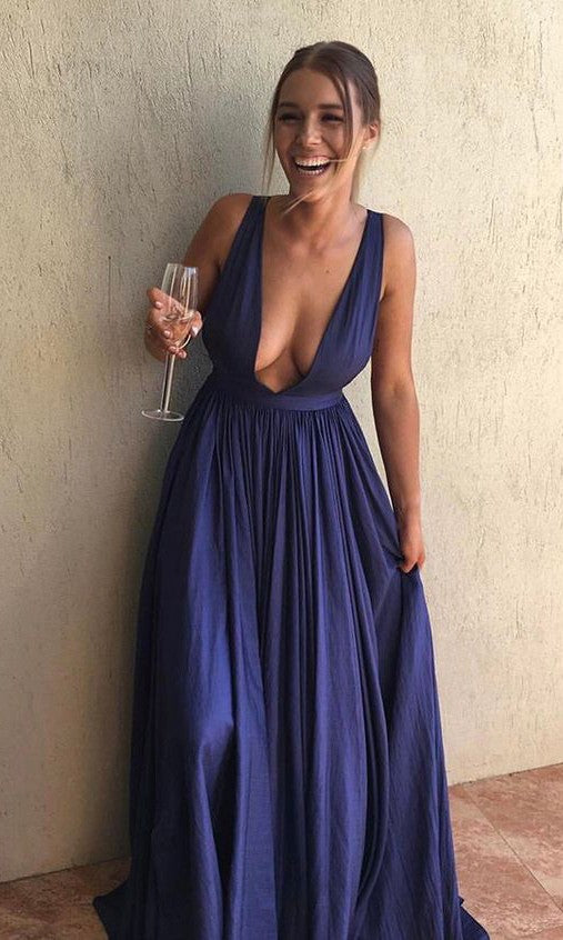 Sexy Deep V-neck Navy Blue Prom Dress - daisystyledress