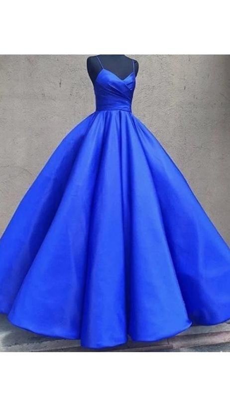 Ball Gown Spaghetti Straps Royal Blue Formal Party Dress - daisystyledress