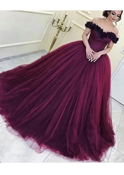 Ball Gown Off Shoulder Sleeve Burgundy Formal Party Dress - daisystyledress
