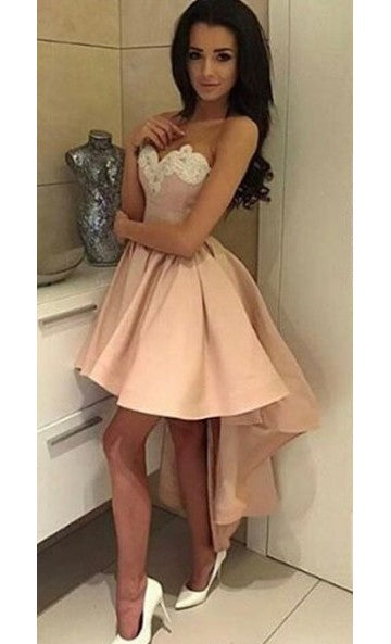 Sexy High Low Blush Homecoming Dress - daisystyledress