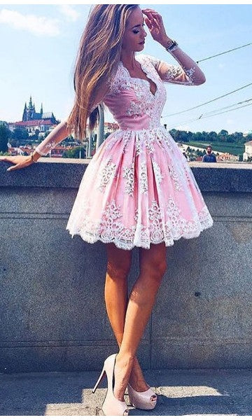 Knee Length Long Sleeve Pink Lace Homecoming Dress - daisystyledress