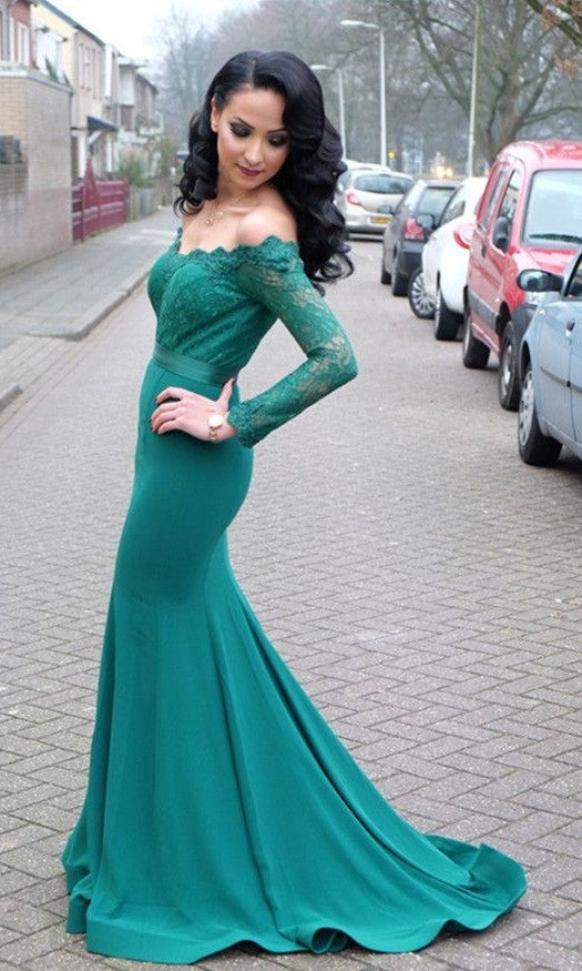 Mermaid Long Sleeves Dark Green Evening Dress - daisystyledress
