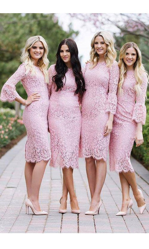 Tea Length Long Sleeves Pink Lace Bridesmaid Dress - daisystyledress