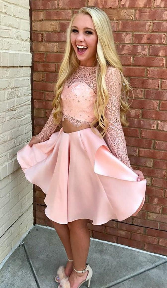 Cute Two Piece Blush Pink Long Sleeve Homecoming Dress - daisystyledress