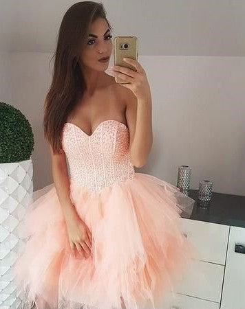 Sexy Tiered Skirt Blush Pink Beaded Homecoming Dress - daisystyledress