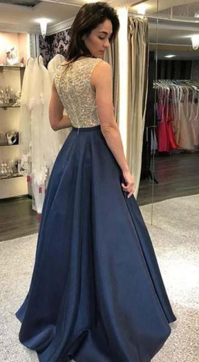 A line Navy Blue Beaded Evening Party Dress - daisystyledress