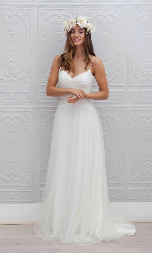 A line Spaghetti Straps Informal Wedding Dress - daisystyledress