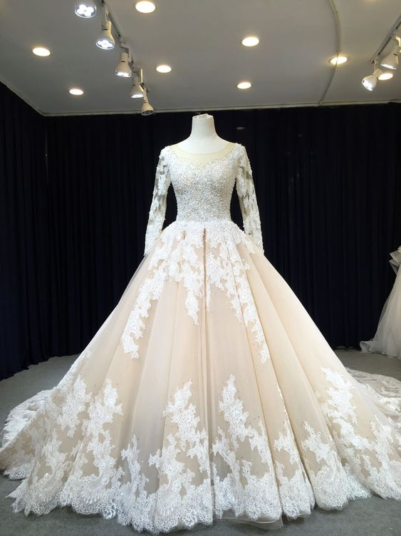 Ball Gown Long Sleeve Lace Champagne Wedding Dress - daisystyledress