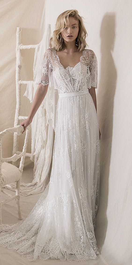 A line Half Sleeves Lace Boho Wedding Dress - daisystyledress