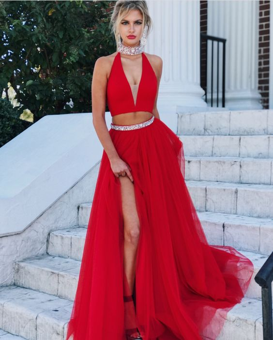 Sexy Two Pieces Slit Red Prom Dress