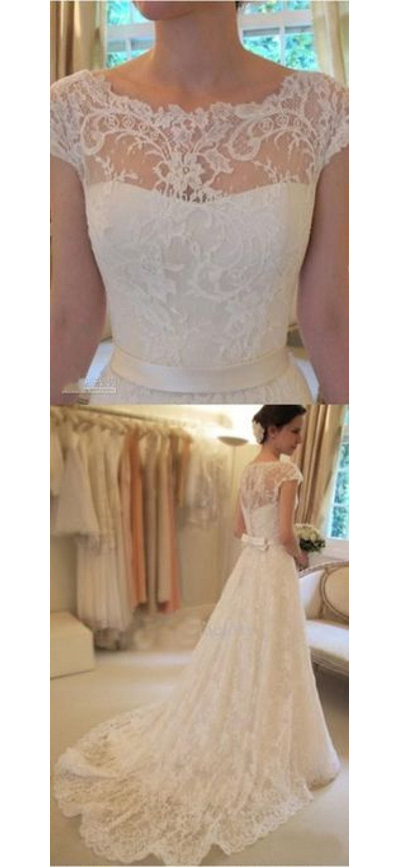 A line Vintage Lace Wedding Dress - daisystyledress
