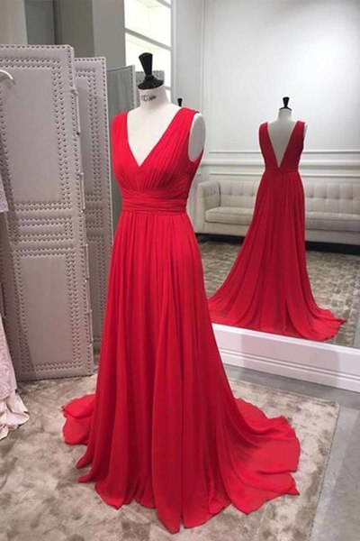 Modest Long V-neckline Red Formal Party Dress - daisystyledress