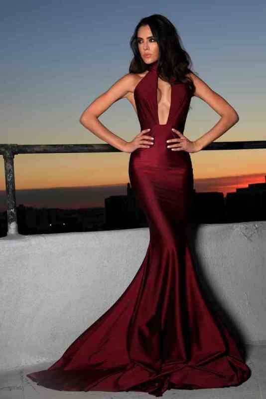 Mermaid Halter Neckline Burgundy Evening Dress - daisystyledress
