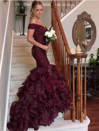 Mermaid Off Shoulder Sleeves Burgundy Prom Dress - daisystyledress