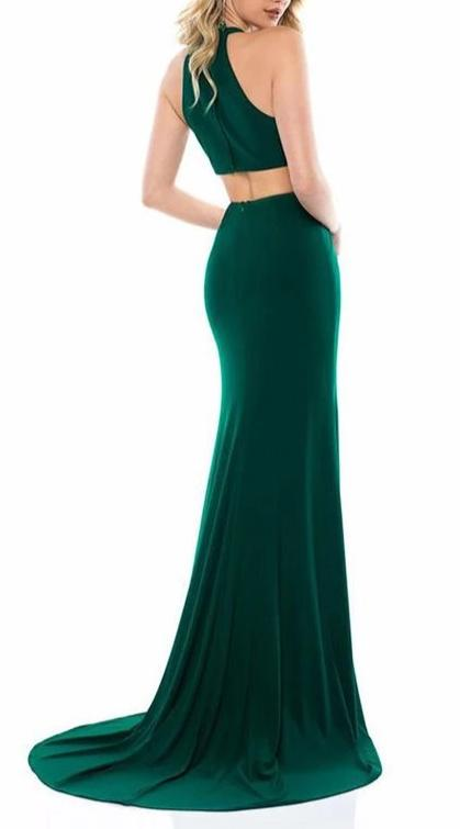 Mermaid Slit Green Evening Dress - daisystyledress