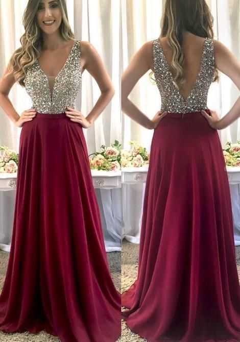 Full Length Beaded V-neckline Burgundy Prom Dress - daisystyledress