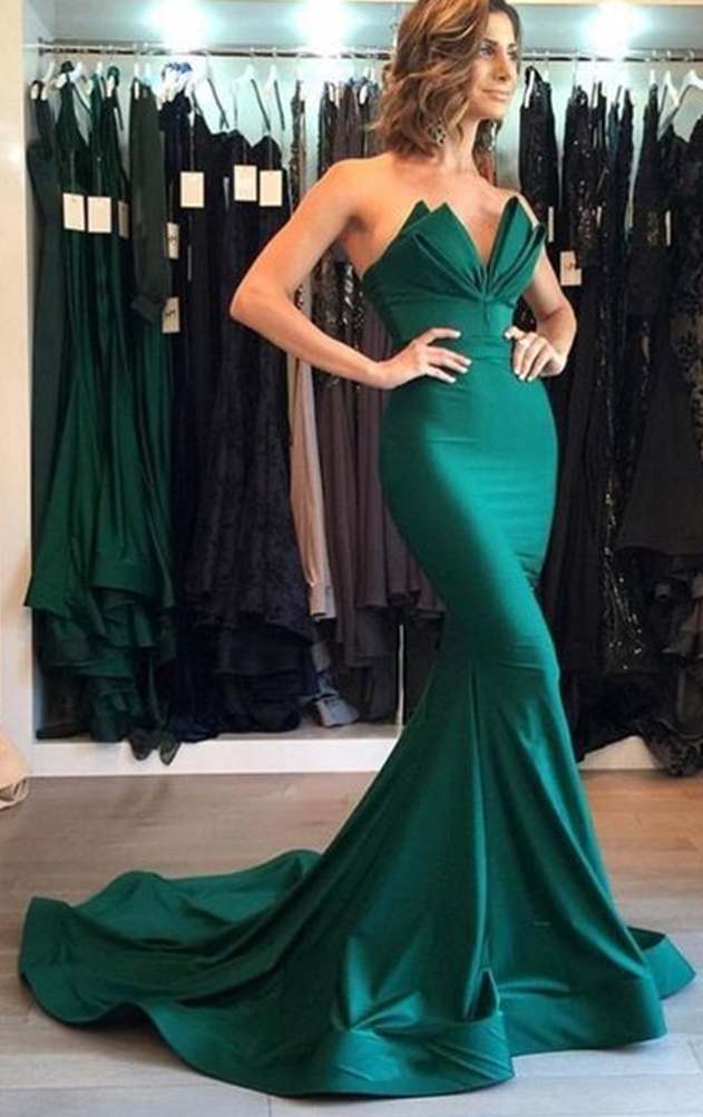 Sexy Mermaid Sweetheart Green Evening Dress
