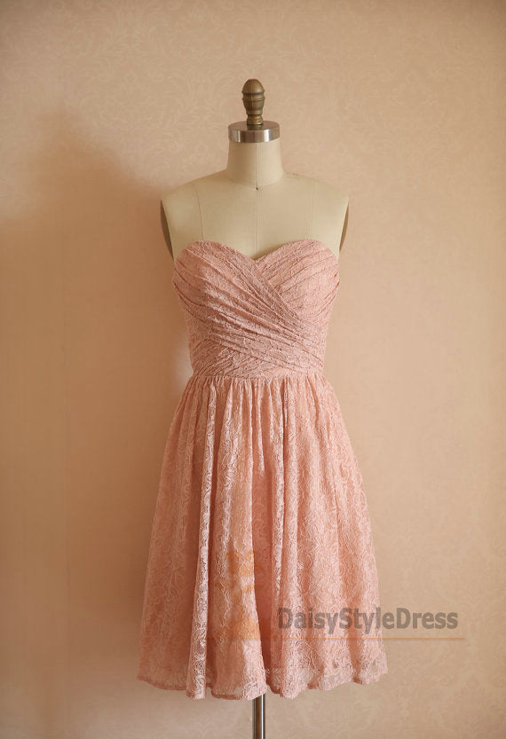 Knee Length Blush Lace Vintage Bridesmaid Dress - daisystyledress