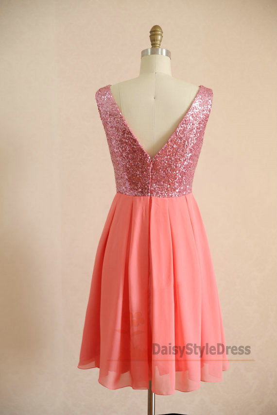 Knee Length V-back Coral Party Dress - daisystyledress