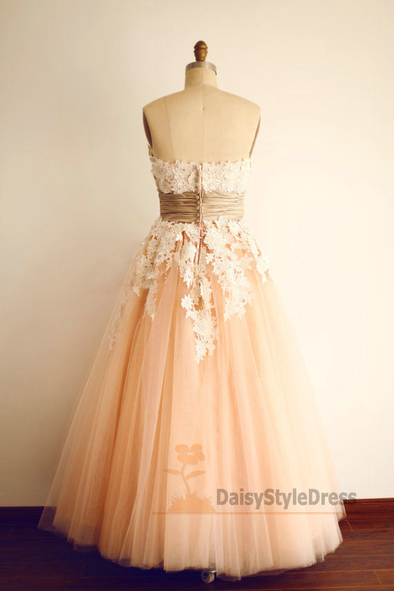 Ankle Length Blush Vintage Informal Wedding Dress - daisystyledress