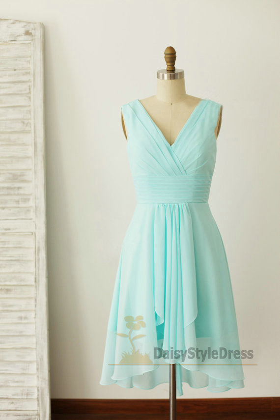 Knee Length Light Blue Bridesmaid Dress - daisystyledress