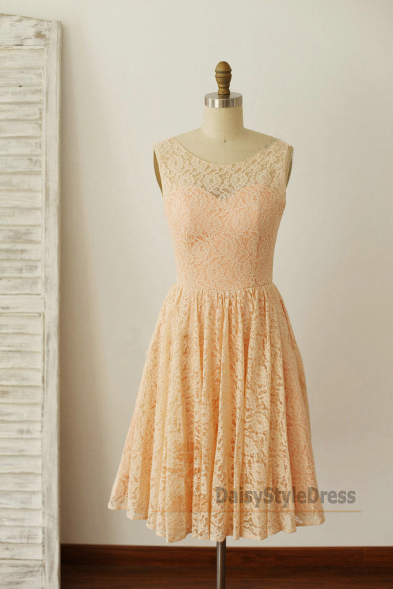 Knee Length V-back Lace Vintage Bridesmaid Dress - daisystyledress