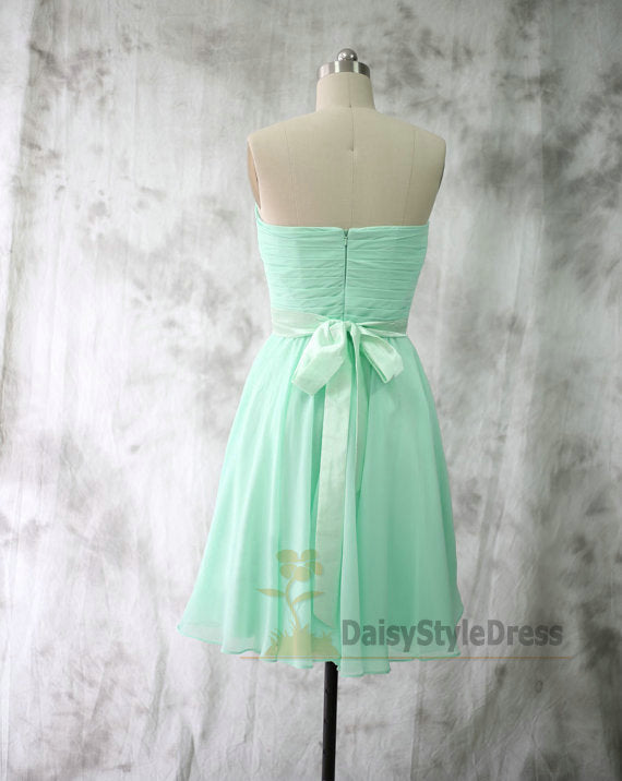 Knee Length Mint Green Bridesmaid Dress with Sash - daisystyledress