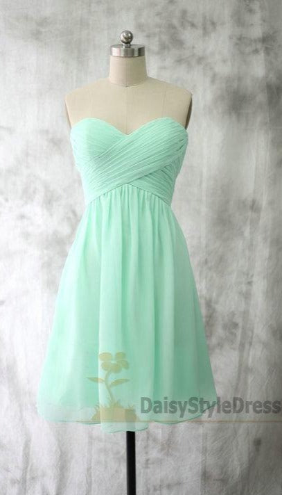 Short  Mint Green Cheap Bridesmaid Dress