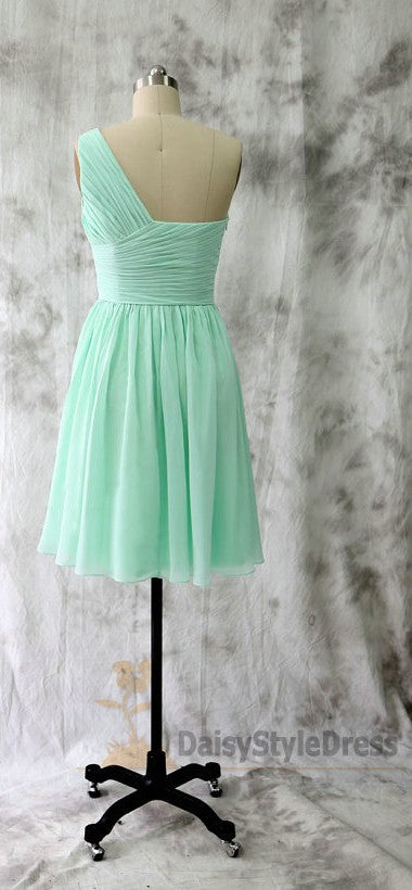 Short One Shoulder Mint Green Bridesmaid Dress - daisystyledress