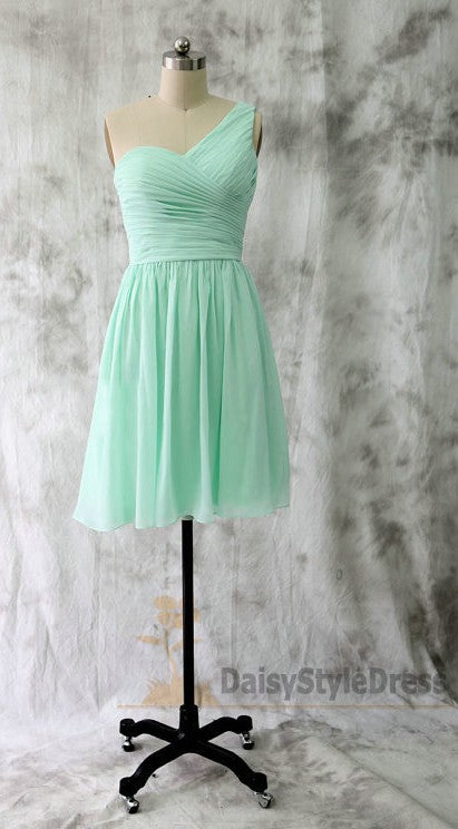 One Shoulder Mint Green Bridesmaid Dress