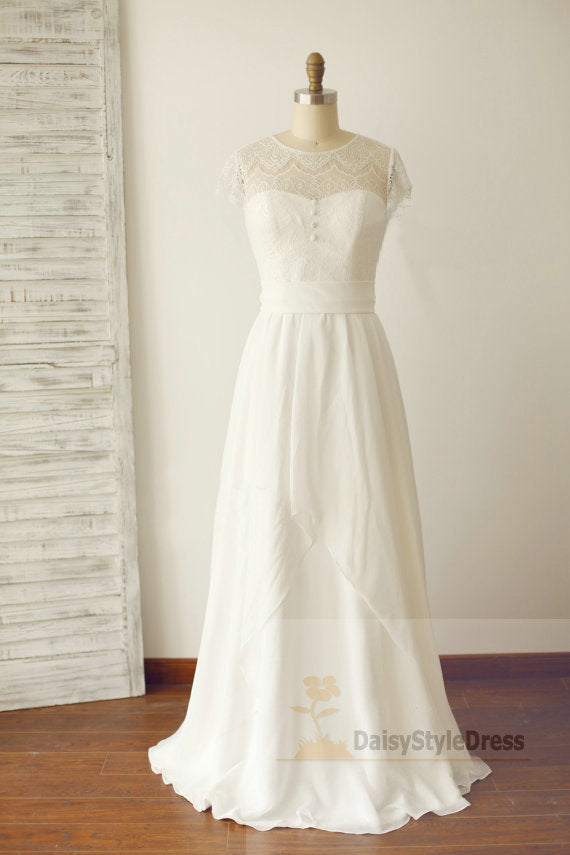 Lace Cap Sleeves Summer Wedding Dress - daisystyledress