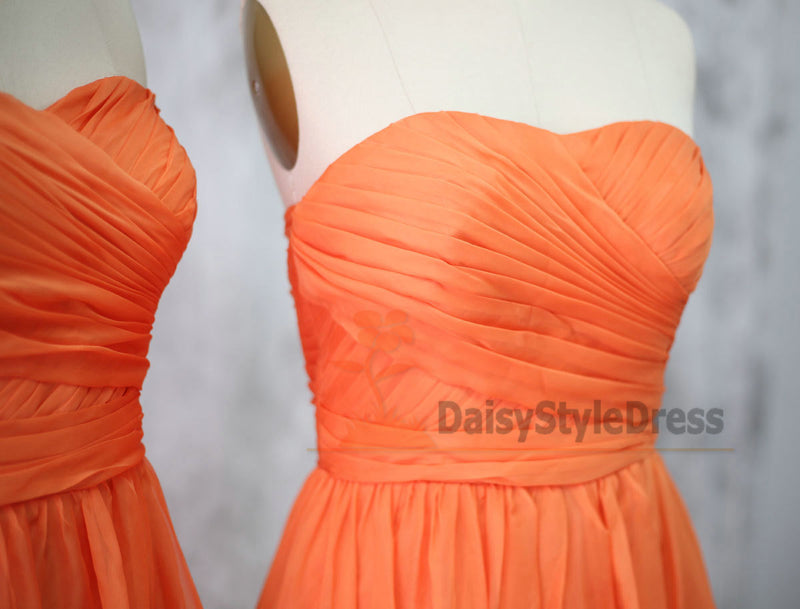 Knee Length Sweetheart Orange Bridesmaid Dress - daisystyledress