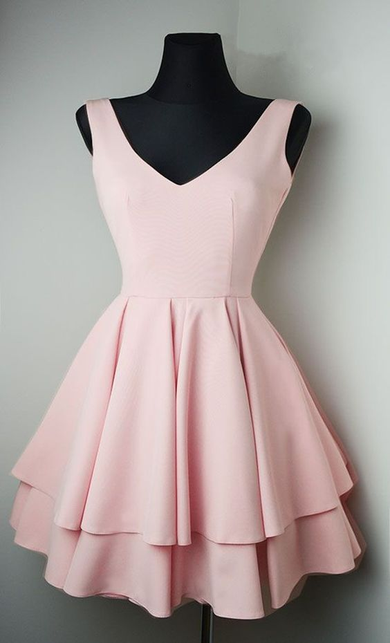 Knee Length V-neckline Blush Pink Homecoming Dress - daisystyledress