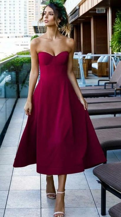Tea Length Sweetheart Neckline Formal Party Dress - daisystyledress
