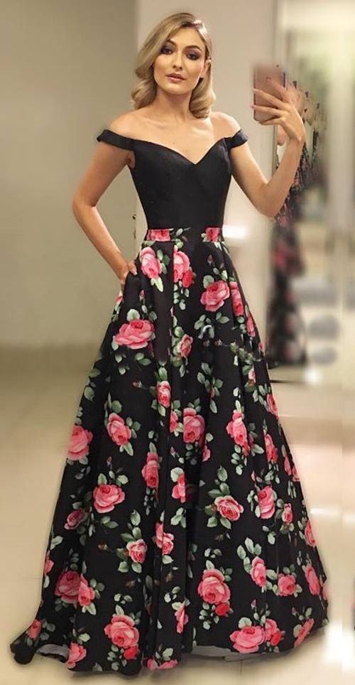Off Shoulder Sleeves Black Floral Prom Dress - daisystyledress