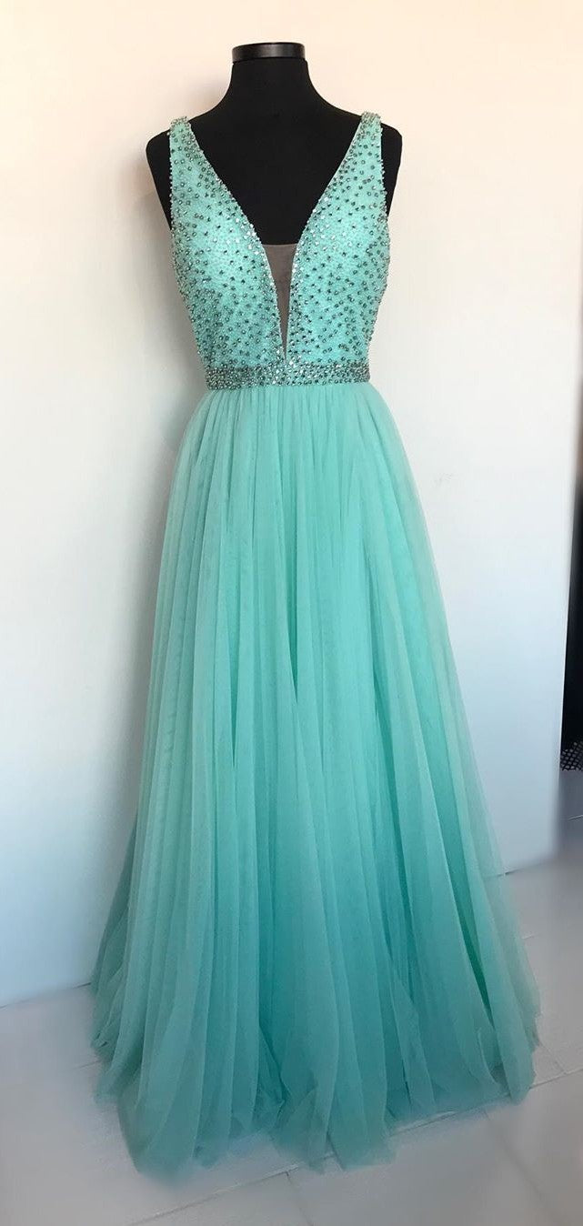 Full Length Beaded V-neck Ice Blue Prom Dress - daisystyledress