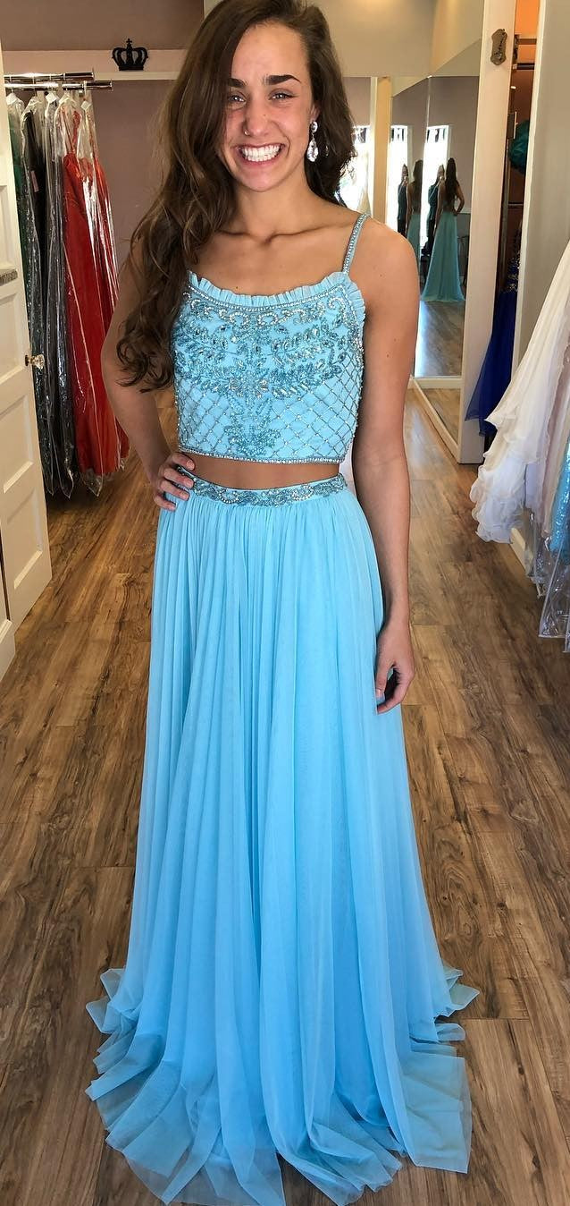 Two Pieces Blue Prom Dress - daisystyledress