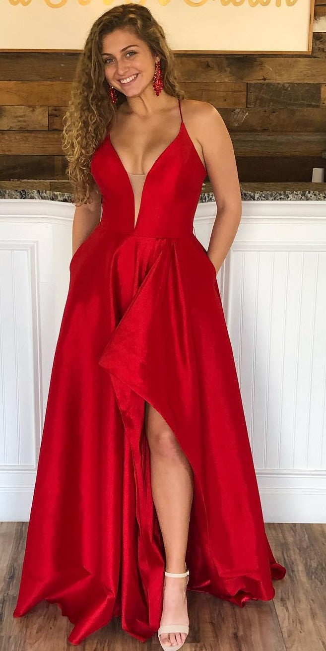 Slit Red Prom Dress